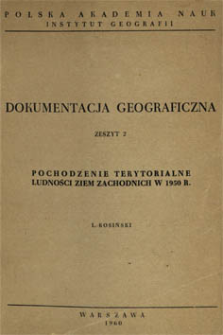 Pochodzenie terytorialne ludności Ziem Zachodnich w 1950 r.