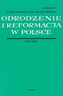 Odrodzenie i Reformacja w Polsce T. 43 (1999), Ttitle pages, Contents