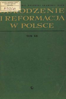 Odrodzenie i Reformacja w Polsce T. 12 (1967), Title pages, Contents