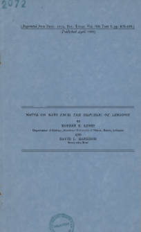 Notes on bats from Republic of Lebanon