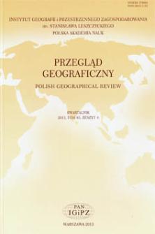 Przegląd Geograficzny T. 85 z. 4 (2013), Spis treści