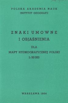 Znaki umowne i objaśnienia dla mapy hydrograficznej Polski 1:50 000