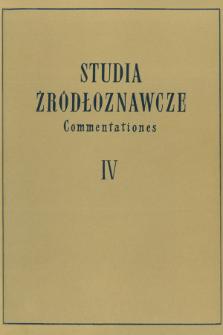 Studia Źródłoznawcze = Commentationes. T. 4 (1959), Title pages, Contents