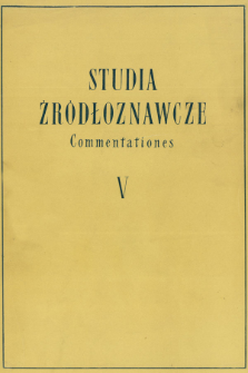 Studia Źródłoznawcze = Commentationes. T. 5 (1960), Title pages, Contents