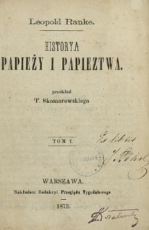 Historya papieży i papieztwa. T. 1
