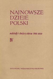 Najnowsze Dzieje Polski : materiały i studia z okresu 1914-1939 T. 4 (1961), Title pages, Contents