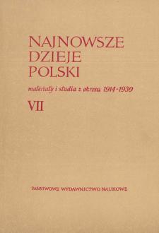 Najnowsze Dzieje Polski : materiały i studia z okresu 1914-1939 T. 7 (1964), Title pages, Contents