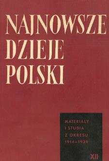 Najnowsze Dzieje Polski : materiały i studia z okresu 1914-1939 T. 12 (1967), Title pages, Contents