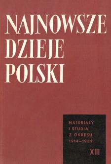 Najnowsze Dzieje Polski : materiały i studia z okresu 1914-1939 T. 13 (1968), Title pages, Contents