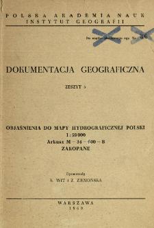Objaśnienia do mapy hydrograficznej Polski 1:50 000 : arkusz M-34-100-B Zakopane