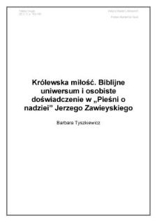 """Królewskamiłość.Biblijneuniwersumiosobistedoświadczeniew""""Pieśni onadziei""""JerzegoZawieyskiego"""