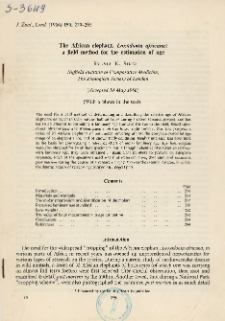 The African elephant, Loxodonta africana : a field method for the estimation of age