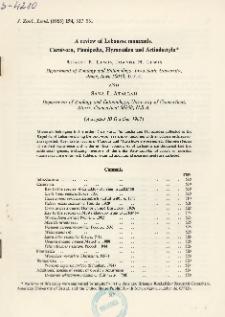 A review of Lebanese mammals. Carnivora, Pinnipedia, Hyracoidea and Artiodactyla