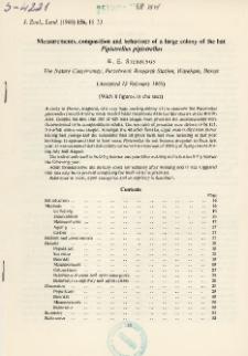 Measurements, composition and behaviour of a large colony of the bat Pipistrellus pipistrellus