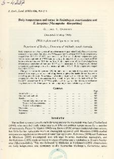 Body-temperatures and torpor in Sminthopsis crassicaudata and S. larapinta (Marsupialia - Dasyuridae)