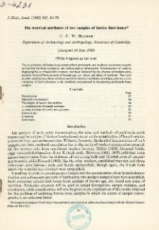 The metrical attributes of two samples of bovine limb bones