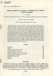 Chemical properties and occurrence on Kalahari sand of salt licks created by elephants