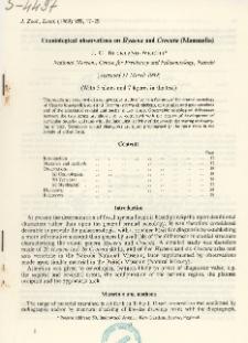 Craniological observations on Hyaena and Crocuta (Mammalia)