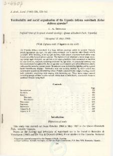 Territoriality and social organization of the Uganda defassa waterbuck Kobus defassa ugandae