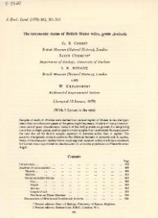 The taxonomic status of British Water voles, genus Arvicola