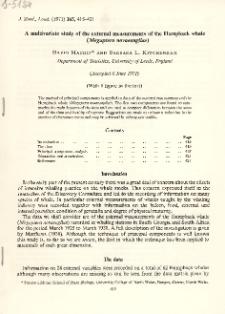 A multivariate study of the external measurements of the Humpback whale (Megaptera novaeangliae)