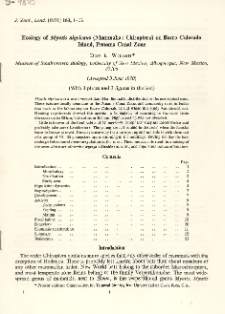 Ecology of Myotis nigricans (Mammalia: Chiroptera) on Barro Colorado Island, Panama Canal Zone