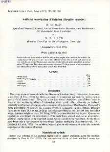 Artificial insemination of Reindeer (Rangifer tarandus)
