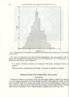 Population density in the Common shrew, Sorex araneus