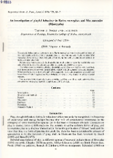 An investigation of playful behaviour in Rattus norvegicus and Mus musculus (Mammalia)