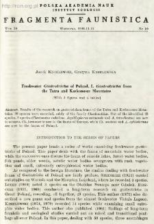 Freshwater Gastrotricha of Poland. 1. Gastrotricha from the Tatra and Karkonosze Mountains