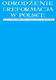 Odrodzenie i Reformacja w Polsce T. 57 (2013), Dyskusje i propozycje