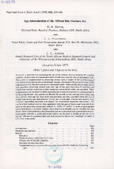 Age determination of the African lion (Panthera leo)