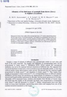 Allometry of the limb bones of mammals from shrews (Sorex) to elephant (Loxodonta)