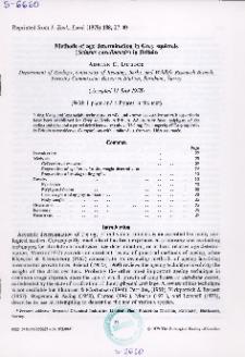 Methods of age determination in Grey squirrels (Sciurus carolinensis) in Britain