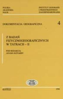 Z badań fizycznogeograficznych w Tatrach. 2 /