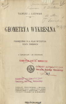 Geometrya wykreślna : podręcznik dla klas wyższych szkół średnich