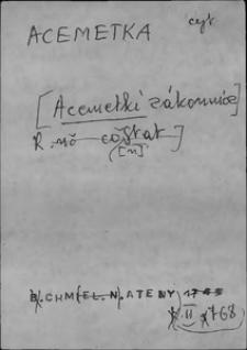 Kartoteka Słownika języka polskiego XVII i 1. połowy XVIII wieku; Acemetka - Aftować
