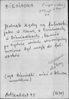 Kartoteka Słownika języka polskiego XVII i 1. połowy XVIII wieku; Biesiadka - Blankiet