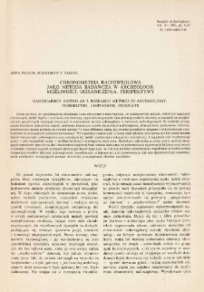 Chronometria radiowęglowa jako metoda badawcza w archeologii : możliwości, ograniczenia, perspektywy