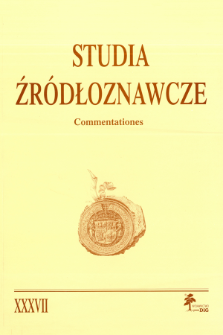 Studia Źródłoznawcze = Commentationes T. 37 (2000), Title pages, Contents