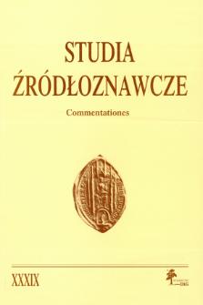 Studia Źródłoznawcze = Commentationes T. 39 (2001), Title pages, Contents