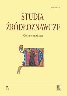 Studia Źródłoznawcze = Commentationes T. 55 (2017), Title pages, Contents
