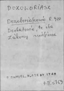 Kartoteka Słownika języka polskiego XVII i 1. połowy XVIII wieku; Dozolariusz - Dół