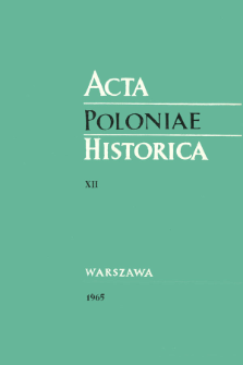 Acta Poloniae Historica T. 12 (1965), Title pages, Contents