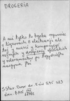 Kartoteka Słownika języka polskiego XVII i 1. połowy XVIII wieku; Drogeria - Drugi1