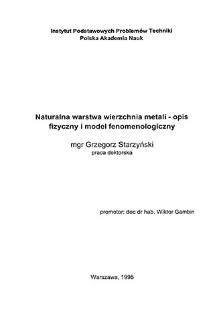 Naturalna warstwa wierzchnia metali - opis fizyczny i model fenomenologiczny