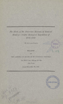 The Birds of the American Museum of Natural History's Asiatic Zoological Expedition of 1916-1917