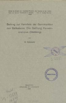 Przyczynek do znajomości kiełży Bajkału : Rodzaj Paramicruropus (Stebbing) = Beitrag zur Kenntnis der Gammariden des Baikalsees : Die Gattung Paramicruropus (Stebbing)