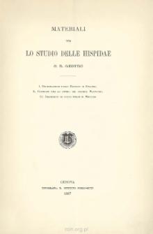 Materiali per lo studio delle hispidae