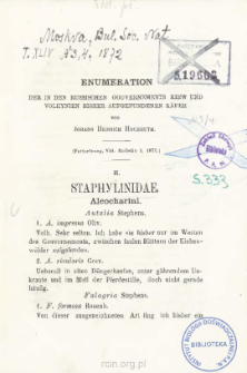 Enumeration der in den russischen gouvernements Kiew und Voliiynien bisher aufgefundenen käfer. II Staphyltnidae